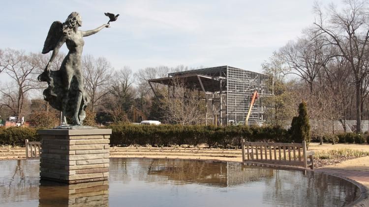 The new Memphis Botanic Gardens stage under construction