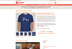 Booster, which launched last August, allows crowdfunding campaign organizers to create custom-made T-shirts and sell them online, with the profits going toward their chosen social causes.
