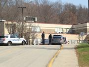 Police on the scene of the stabbing attack at Franklin Regional High School.