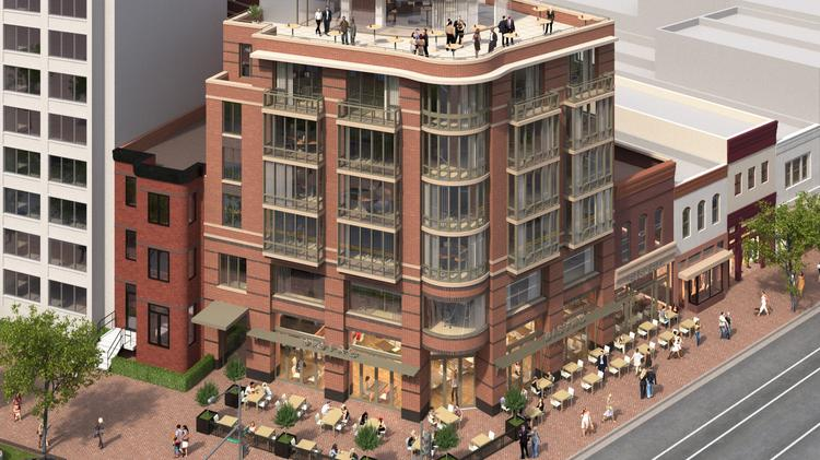 An aerial view of Abdo Development's planned six-story, mixed-use building at 14th Street and Rhode Island Avenue NW.