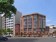 From ground level, a look at Abdo Development's mixed-use building planned for the intersection of Rhode Island Avenue and 14th Street NW.