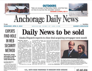 Today's front page of the Anchorage Daily News announcing its sale to Alaska Dispatch Publishing, owned by Alice Rogoff (pictured on the front page)