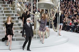 Karl Lagerfeld, fashion designer, greets the audience after the presentation of the Chanel Fall/Winter 2008-2009 ready-to-wear collection in Paris, France, on  Feb. 29, 2008.