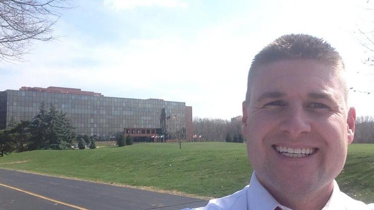 Jim Danis, director of business development for G/C Contracting, took a selfie at NCR's old headquarters, which has been transformed into the University of Dayton Research Institute, an advanced research center and the headquarters of a health care company.