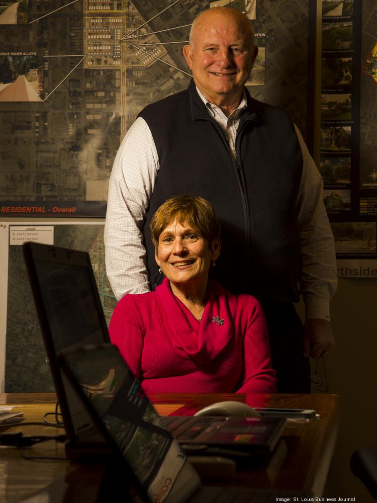 Paul and Midge McKee pose for a photograph in their office on April 3 in St. Louis.