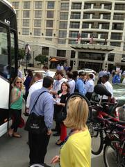 After eight hours of riding through and passing by more than 25 shopping center properties around the Triangle, the Retail Bus Tour makes its final stop in front of the Renaissance Hotel at North Hills.