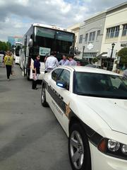 Sheriff deputies from the Wake County Sheriff's Department escorted the three chartered tour busses throughout the day, sometimes stopping or diverting traffic at major intersections to let the Retail Bus Tour pass through to its next destination.