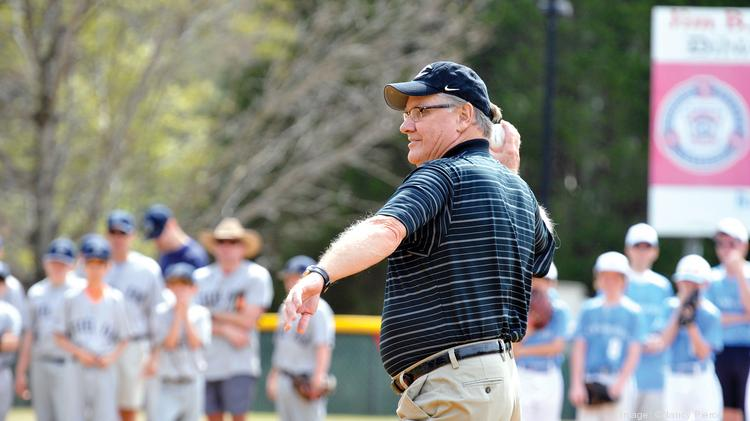 Knights owner Don Beaver at the Dilworth Little League season opening, where he threw out the first pitch.