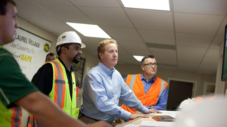 Shaun Yancey, center, is the new president and COO of PCL Construction Enterprises Inc., a Denver-based, U.S. construction company since 1975. The company is a subsidiary of PCL Construction Holdings Inc., based in Edmonton, Alberta, Canada.