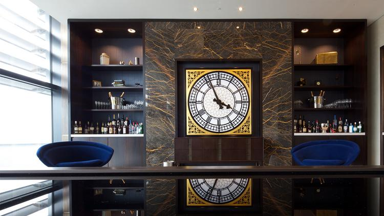 United Airlines' new first class lounge at London's Heathrow Airport features a replica of the Big Ben clock face.