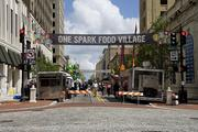 One Spark Food Village, on Laura Street between Forsyth and Adams streets, features food trucks and other vendors.