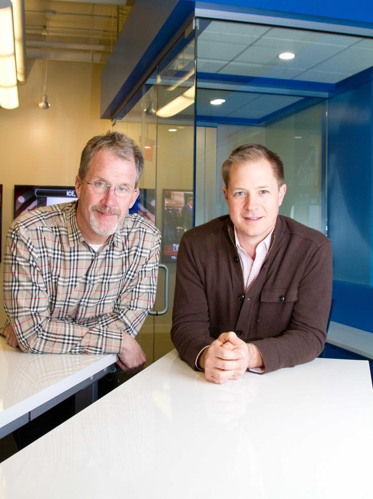 Drive Capital co-founders Mark Kvamme, left, and Chris Olsen have set up shop in the Arena District.