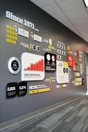 An impact wall displays the connection between sports participation and empowerment through statistics and graphics.