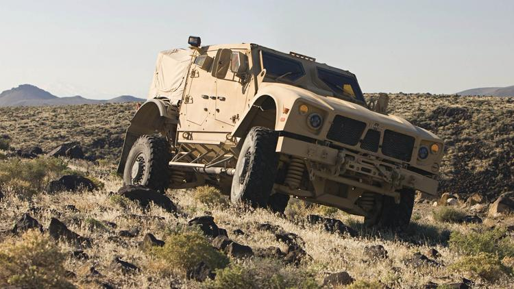 Oshkosh Corp. saw a sharp drop in military truck sales in the fiscal third quarter.