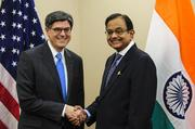Jack Lew, U.S. treasury secretary, left, shakes hands with Palaniappan Chidambaram, India's finance minister, at the International Monetary Fund and World Bank Group Spring Meetings in D.C. on April 19.