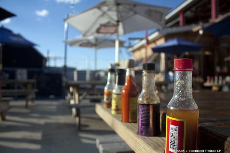 An outdoor seating area is shown at Brooklyn Crab. The Red Hook restaurant area lets its clientele sample from hundreds of bottles of hot sauce. The first New York Hot Sauce Expo will be held this weekend, in Brooklyn.