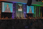 Kevin Flanery, president of Churchill Downs racetrack, spoke during the They're Off luncheon.