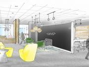 A rendering of the Canvs lobby. The co-working space in the co-working space in the Church Street Exchange will have more than 17,000 square feet of space.