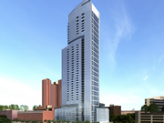 An artist's rendering of a skyscraper proposed for 414 Light St., the site of a former McCormick & Co. manufacturing plant across from the Inner Harbor.