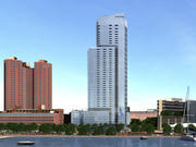 This rendering shows a proposed 43-story apartment tower at 414 Light St. as viewed from the National Aquarium in Baltimore.