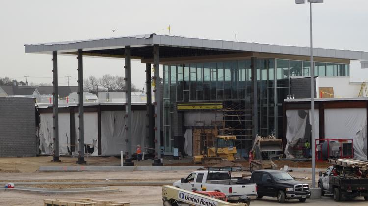 The new entrance to the Springfield Town Center takes shape on the side of the mall fronting Loisdale Road