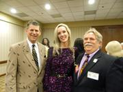 Attending a reception before the They're Off! Luncheon were, from left: Bill Lamb, president and general manager of WDRB-TV; his wife, Becky Lamb; and Ben Jackson of The Jackson Group.