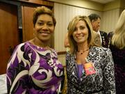 Tierra Kavanaugh Turner, left, CEO of TKT & Associates Inc., and Diane Warner, manager of the M. Krista Loyd Resource Center at the James Graham Brown Cancer Center, attended a reception before the They're Off! Luncheon. The M. Krista Loyd Resource Center was honored with the AT&T Silver Horseshoe Award during the luncheon.