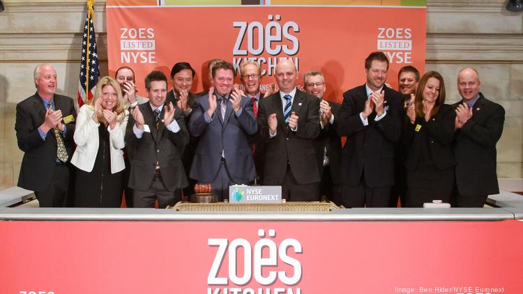 NEW YORK, NY – APRIL 11:  President and CEO Kevin Miles of Zoës Kitchen rings the Opening Bell at The New York Stock Exchange on April 11, 2014 in New York City.  (Photo by Ben Hider/NYSE Euronext)