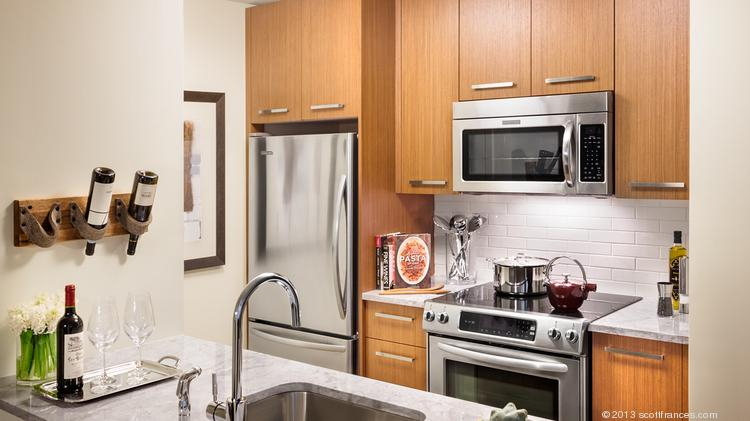 A kitchen in one of the units at 100 Arlington St. In Boston.
