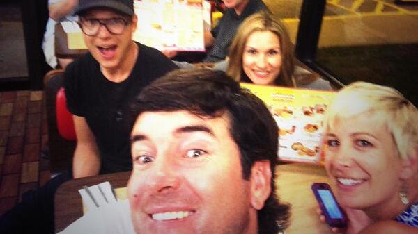 Two-time Masters winner Bubba Watson tweeted a photo from his celebration dinner at Waffle House.