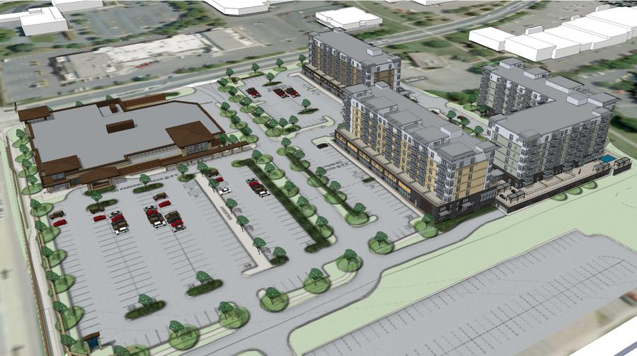 Aerial view of the proposed project, from the southwest. France Avenue runs along the left side of the rendering.