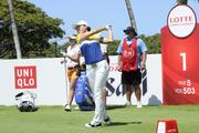Hee Kyung Seo teeing off at the first hole of the LPGA LOTTE Championship.