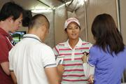 Golfer Ai Miyazato meets with reporters in the media center at the LPGA LOTTE Championship.