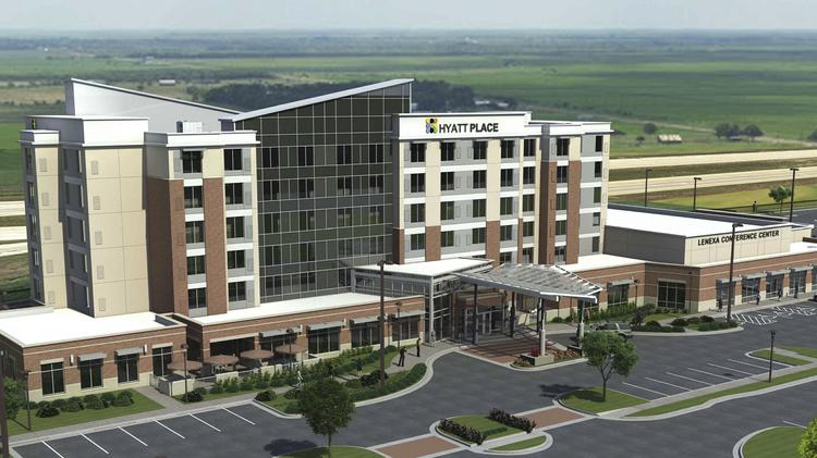 Rendering of the 127-room hotel and 14,000-square-foot conference center planned for the Lenexa City Center East Village