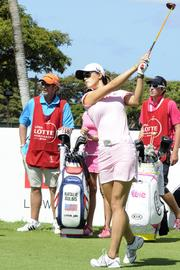 Michelle Wie teeing off at the first hole of the LPGA LOTTE Championship.