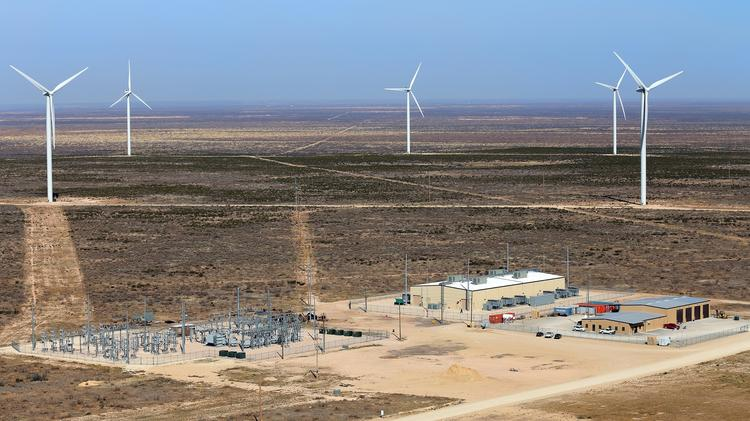 The 36 megawatt Notrees Wind and Battery Storage Project in Notrees in far West Texas.