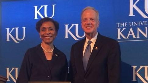 Sen. Jerry Moran, R-Kansas, receives the Champion of Science Award for his support of scientific research onMonday at the Dole Institute of Politics at the University of Kansas. KU Chancellor Bernadette Gray-Little presented the award.