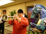 Steve Buttleman, official bugler of Churchill Downs, was on hand at The Fillies Derby Ball to call attendees to the ballroom.