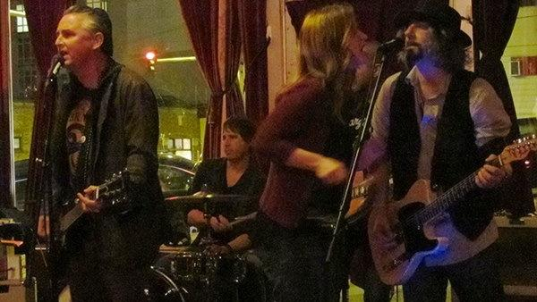 One last rock n' roll jam session in the back room at popular Piecora's Pizza  in Seattle, which closes its doors for good Tuesday, April 15 after being open for 33 years. left to right, Mike McReady of Pearl Jam, Chris Friel on drums, Kim Virant and Tim DiJulio.