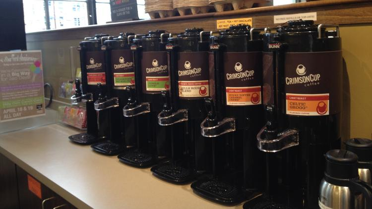 Crimson Cup will stock the downtown Hills Market with coffee, joining Johnson's Real Ice Cream at the store.