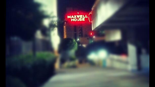 The Maxwell House plant shines out in Downtown Jacksonville.