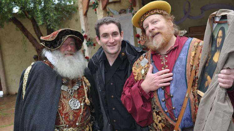 Jeremy Babendure, center, executive director of the Arizona SciTech Festival, with  performers dressed as Galileo Galilei (left) and Leonardo da Vinci at the Arizona Renaissance Festival's Discovery Days as part of efforts to promote the education of Science, Technology, Engineering and Math skills throughout the state.