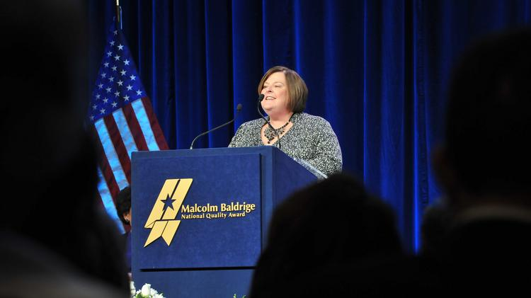 Pewaukee School District superintendent of schools JoAnn Sternke spoke at the ceremony for the 2013 recipients of the Malcolm Baldrige National Quality Award on April 6.
