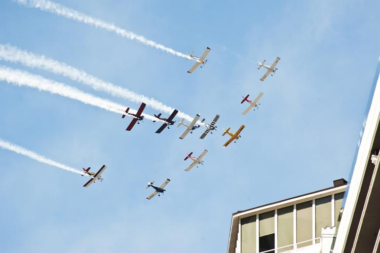 The P-51 World War II-era planes of Team AeroDynamix showed off for the Thunder Over Louisville crowd Saturday afternoon.