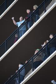 Balconies of the Galt House Hotel were lined with spectators during the Thunder air show.