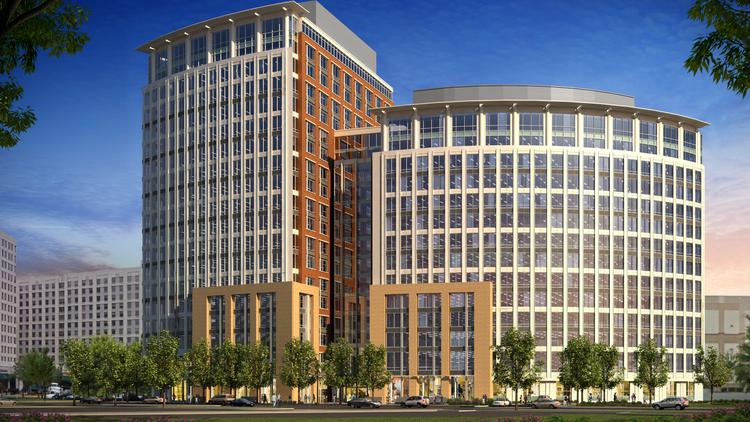 A rendering of the National Science Foundation's new headquarters planned for the Carlyle district in Alexandria. The two connected towers will total more than 660,000 square feet on 2 acres.