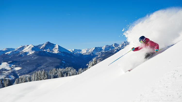 A skier in the back bowls of Vail Mountain Resort.