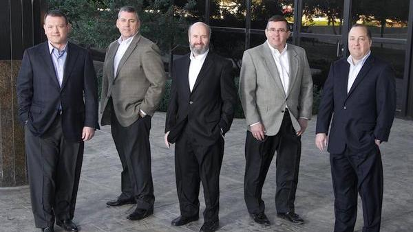 From left: Russell Freeman, Scott Barnes, John Furniss, Tim Morris and Jack Evans founded GuideIT in February 2013. Barnes recently turned the top post over to Chuck Lyles.