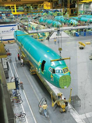 A Boeing 737 fuselage at Spirit AeroSystems in Wichita.