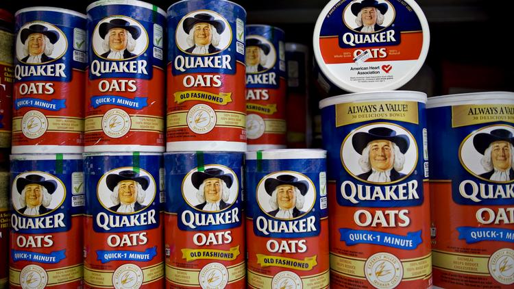 PepsiCo Inc. Quaker brand oats sit on display in a supermarket.
